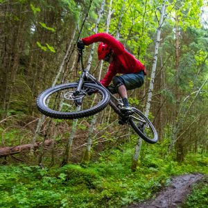 A mountain biker is jumping on his way down the course in the woods.